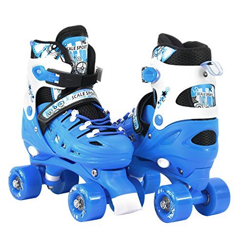 (Adjustable Light Blue Quad Roller Skates for Kids Small)