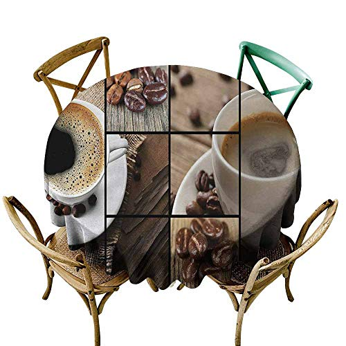 Homrkey Brown Machine Washable Tablecloth Coffee Themed Collage Close Up Mugs Beans on Wooden Table Aromatic Roasted Espresso Drink Soft and Smooth Surface Brown (Round - -
