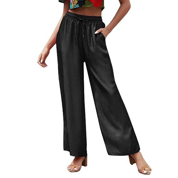 HEFYBA - Pantalón para Mujer con Pernera Ancha, Banda de Goma ...