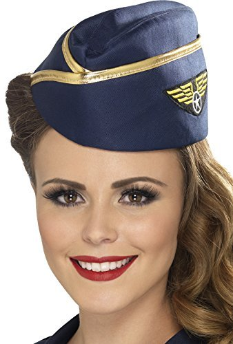 Airline Stewardess Halloween Costume (Blue & Gold Air Hostess Hat)