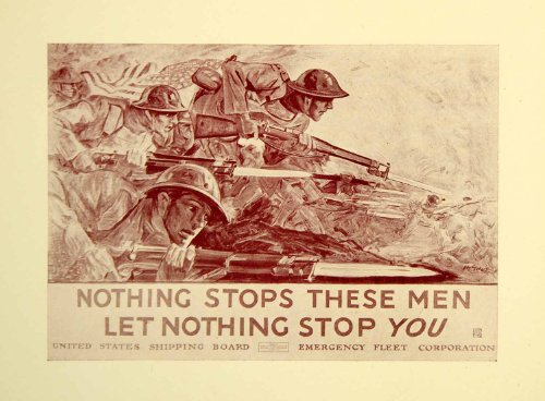 Circa 1920 Print WWI Nothing Stops American Soldiers United States Propaganda - Original Halftone Print by...