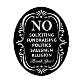 WaaHome No Soliciting Sign for House Large Black No Soliciting Signs with White Letters (10''X8'')