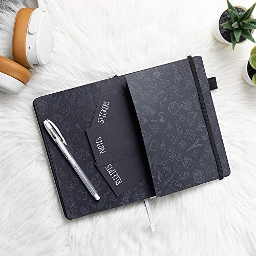 Sternennacht von Scribbles That Matter - A5 Dotted Journal - 160gsm schwarzes Papier ohne Ausbluten - Hardcover-Notizbuch - Erstellen Sie Ihren eigenen einzigartigen Lebensorganisator