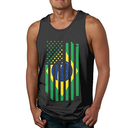 MOI598 American Brazil Flag Mens Sleeveless T-Shirt Tank (Brazil Sleeveless)