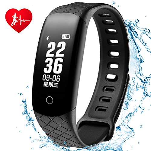Coolhills Fitness Tracker HR, IP68 Waterproof Bluetooth Activity Bracelet Heart Rate Wristbands Pedometer Step Counter Calorie Burned Sleep Monitor Smart Watch Men,Women,Android & iOS