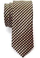 Retreez Wavy Zig Zag Stripe Pattern Woven Skinny Tie Necktie - Various Colors