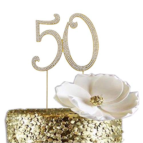50 GOLD Cake Topper | 50 Birthday Cake Topper | 50 Anniversary Cake Topper | Cake Decorations | 50th Cake Topper Crystal Sparkly Rhinestones (50) ...