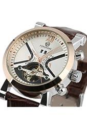 ESS Mens Automatic Mechanical Brown Leather White Dial Luxury Men's Man Wrist Watch WM354