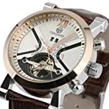 ESS Mens Automatic Mechanical Brown Leather White Dial Luxury Men's Man Wrist Watch WM354