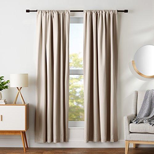AmazonBasics Room-Darkening Blackout Curtain Set - 42 x 84, Taupe
