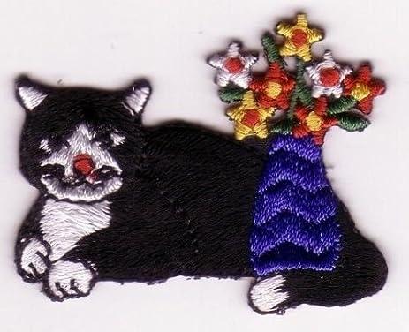 Amazon 1pcs Applique Patterns Animal Ragamuffin Cat W Flowers