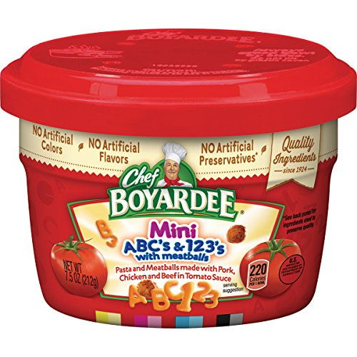 Beef Tomato Sauce - Chef Boyardee ABC & 123 Pasta Shapes with Mini Meatballs in Tomato Sauce, 7.5-Ounce Microwavable Bowls (Pack of 12)
