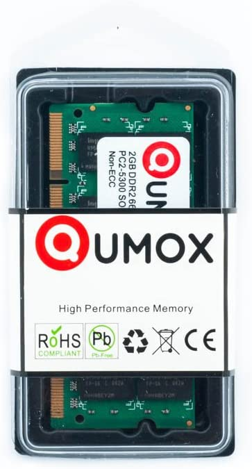 QUMOX Memoria SODIMM para Ordenador pórtatil 2GB DDR2 667MHz PC2-5300 PC2-5400 DDR2 667 (200 Pin)