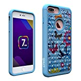 iPhone 7 Plus Case, Soft Interior Silicone Bumper & Hard Shell Solid PC Back, Shock-Absorption & Skid-Proof, Anti-Scratch Hybrid Dual-Layer Cover (Blue Flower)
