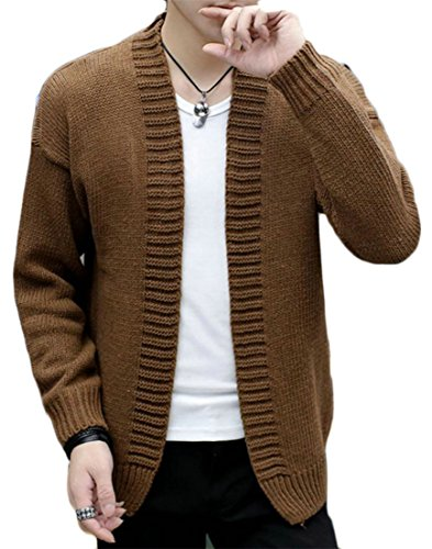 Cromoncent Men Long Sleeve Leisure Solid Color Knit Coat Sweaters Vogue Cardigans Coffee M