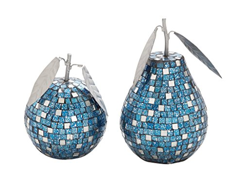 Deco 79 Metal Mosaic Pear Apple, Turquoise, 8 by 6-Inch