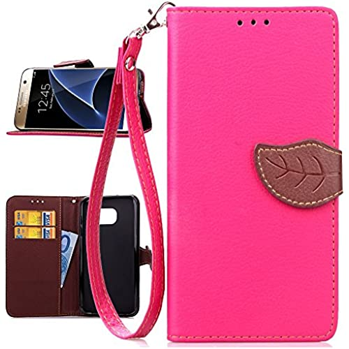 Galaxy S7 Case,S7 Case,Uncle.Y Premium Pu Leather Flip Case [Leaf Lanyard Design] Solid Stand Wallet Cover Card Slots Case for Samsung Galaxy S7 Rose Red Sales