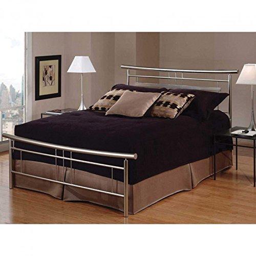 Hillsdale Furniture 1331BKR Soho Bed Set with Rails, King, Brushed Nickel - Soho Panel Bed