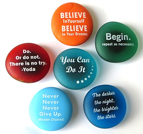 Inspiration Magnets: Encouragement and Motivation on Frosted Sea Glass Stones, Attached To Super-Strong Magnets. By Lifeforce Glass. Set (Frosted Imprinted Glass)