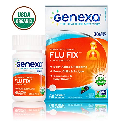 Genexa Flu Fix | Certified Organic & Non-GMO, Physician Formulated, Homeopathic | Multi-Symptom Flu Medicine | 60 Tablets