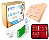#8: Complete Suture Practice Kit for Suture Training, including Large Silicone Suture Pad with pre-cut wounds and suture tool kit (19 pieces). 2nd Generation Model. (Demonstration and Education Use Only)