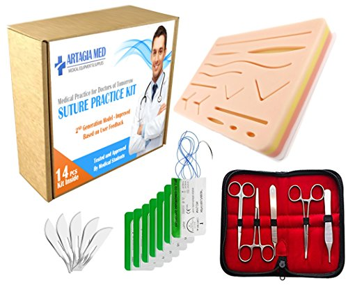 Complete Suture Practice Kit for Suture Training, including Large Silicone Suture Pad with pre-cut wounds and suture tool kit (19 pieces). 2nd Generation Model. (Demonstration and Education Use Only)
