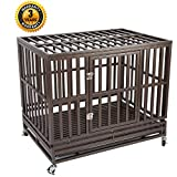Heavy Duty Dog Cage Strong Metal Kennel and Crate for Medium and Large Dogs, Pet Playpen with Four Wheels, Easy to Install, Black