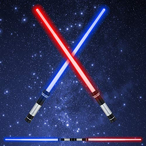 LED Light Saber Glow Sword - 2-in-1 FX Double Bladed Dual Sabers with Sound and 4 Colors Light Sword for Kids -
