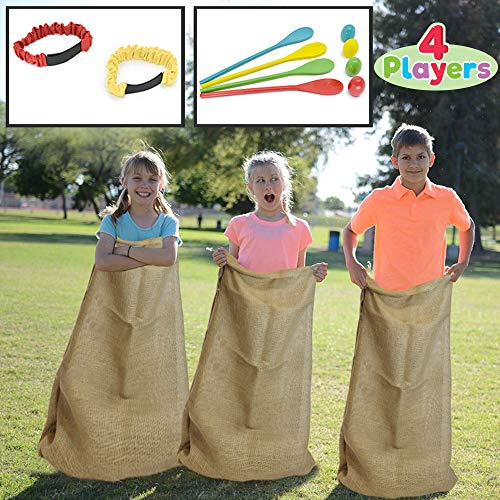 4 Players Outdoor Lawn Games; Potato Sack Race Bags, Egg and Spoon Race Games, Legged Relay Race Bands Elastic Tie Rope for All Ages Kids and Family, Outside Easter Eggs Hunt Game Party Favor Activities, Carnival Game Party Supplies. -