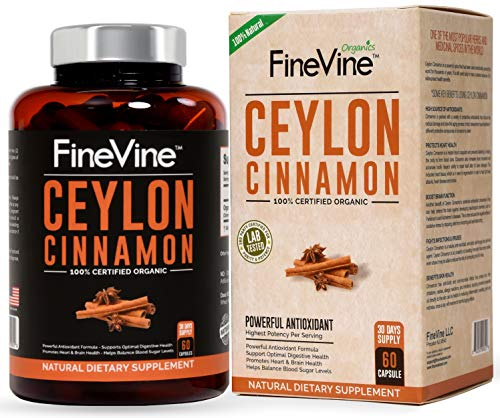 Organic Ceylon Cinnamon - 60 Vegetarian Capsules - for Joint Support, Blood Sugar Support, Improves Cardiovascular & Digestive Systems. Best Anti-Inflammatory & Antioxidant Natural Supplement.