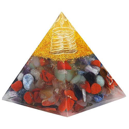 mookaitedecor Healing Crystal 7 Chakra Pyramid Energy Points Meditation Home Decor by mookaitedecor
