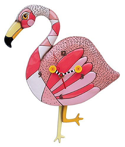 Allen Designs Crazy Legs Flamingo Pendulum Clock by - Measures 14 3/4 x 9 1/4 x 1 3/4 inches Made of hand painted resin Battery operated, requires 1 AA battery, not included - wall-clocks, living-room-decor, living-room - 51N2uCQGdtL -