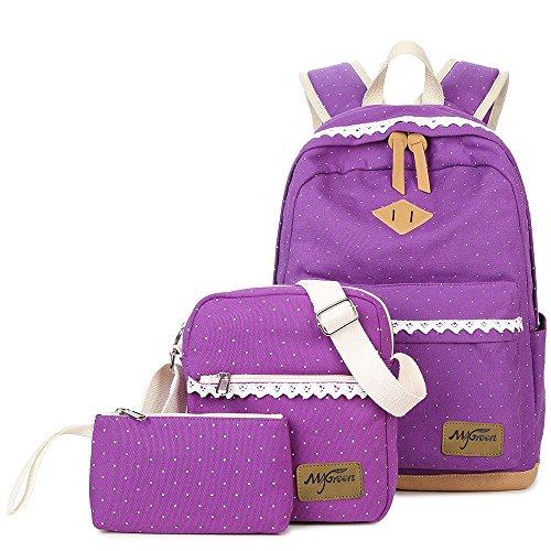 Mygreen Laptop Bag Shoulder Bag Purse Cute Bookbag Girls Backpack for School (Large, Purple-102)