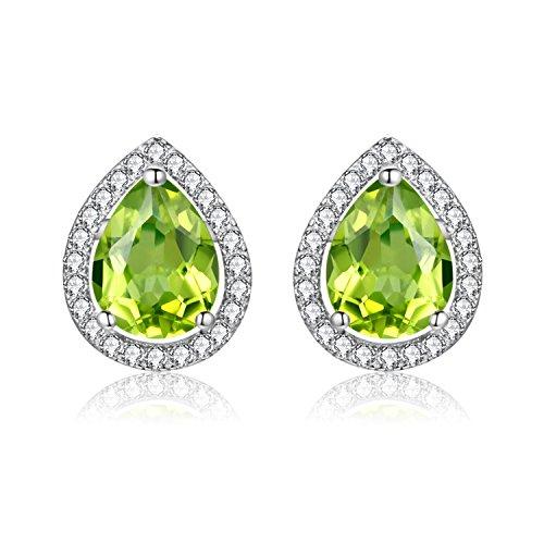 Uloveido Women's 925 Sterling Silver Tear-Drop Peridot August Birthstone Stud Drop Earrings for Engagement Wedding Birthday CR004 (Green) -