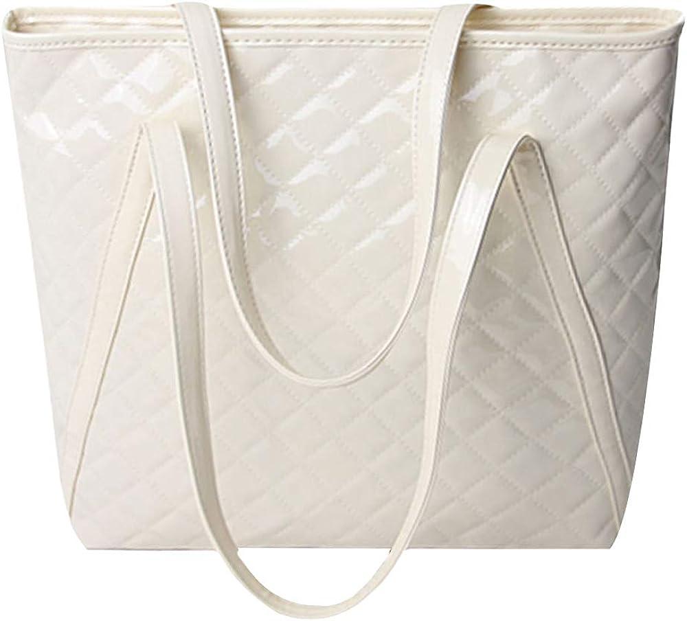 Women Handbags Faux Croco Fold Leather Satchel Tote Shoulder Bag Medium Purse