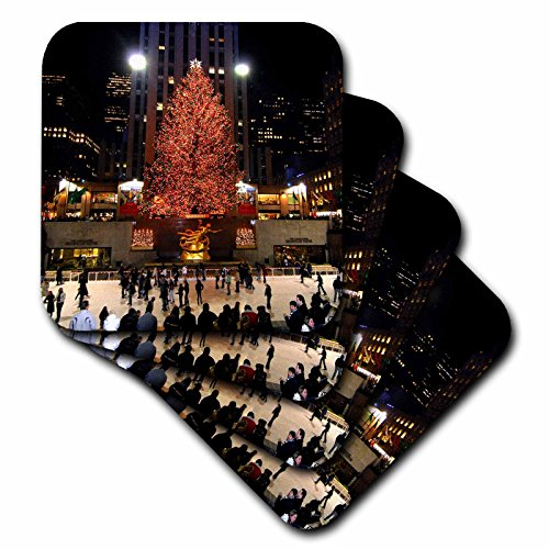 3dRose cst_45489_2 Christmas Lights at Rockefeller Center in New York-Soft Coasters, Set of 8 -