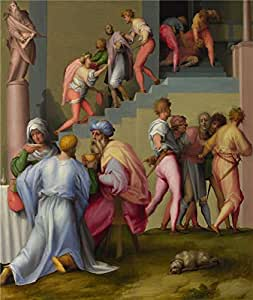 The high quality polyster Canvas of oil painting 'Pontormo Pharaoh with his Butler and Baker ' ,size: 24 x 28 inch / 61 x 72 cm ,this Cheap but High quality Art Decorative Art Decorative Canvas Prints is fit for Bar artwork and Home gallery art and Gifts