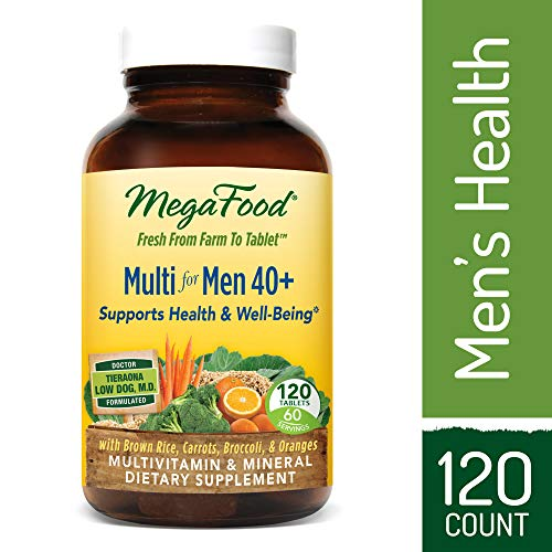 MegaFood - Multi for Men 40+, Multivitamin Support for Energy Production, Heart Health, and Memory, Mood, and Bones with Vitamin D3 and Methylated Folate, Vegetarian, Gluten-Free, Non-GMO, 120 Tablets