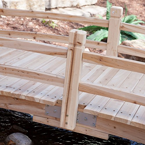 Attractive Design, Weather-Resistant 10-ft. Wood Garden Bridge with Rails - Assembly Required by Coral Coast (Image #4)
