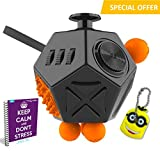 Image of FabQuality Cube 12 Sides Anxiety Attention Toy With Minion Key Chain Gift + eBook Included - Relieves Stress And Anxiety And Relax for Children and Adults BONUS EBOOK is sent by email