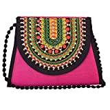 Lonika Crossbody Handmade Bags For Womens Frosted Evening Clutch Embroidery Envelope Purses Handbag Wedding & Party (Pink)