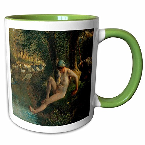 3dRose BLN Beautfiul Nudes Fine Art Collection - Goose Girl Bathing by Jean-Francois Millet - 15oz Two-Tone Green Mug (mug_128002_12)