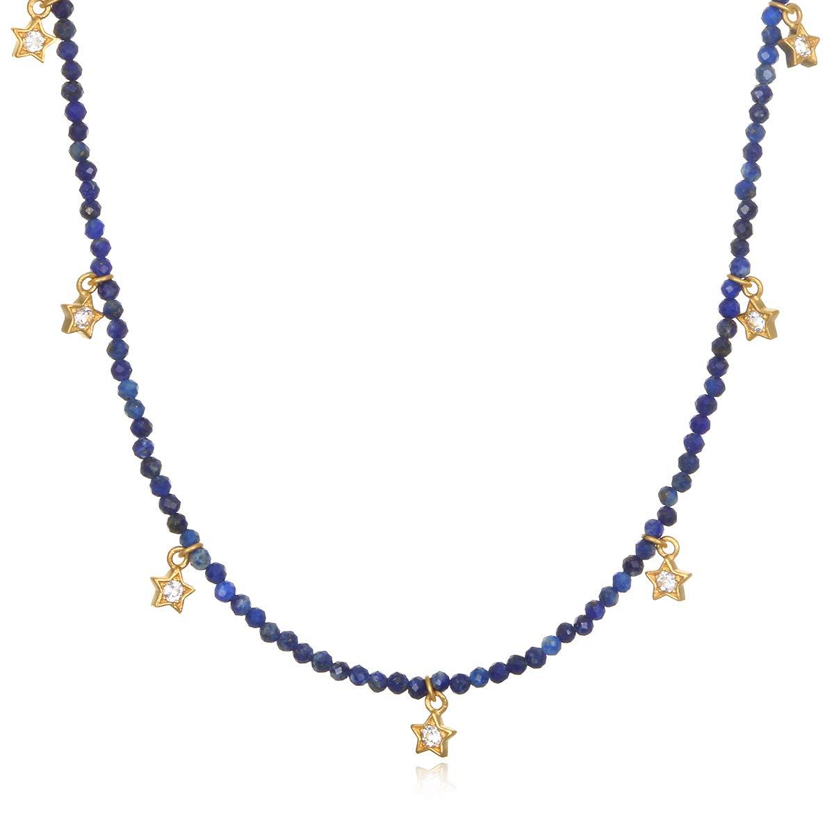 Satya Jewelry Sodalite & White Topaz Gold Star Choker Necklace (14-inch +2 ext), One Size