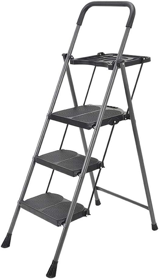 C-J-Xin Escalera Negra de Tres escalones, Escalera Antideslizante Plegable de Metal Escalera de Cocina Interior Escalera de ingeniería al Aire Libre Tamaño 50 * 6.5 * 150 CM Escalera de casa: Amazon.es: Hogar
