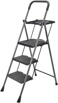 Suministros de construcción Escalera negra de tres escalones, Escalera antideslizante plegable de metal Escalera de cocina interior Escalera de ingeniería al aire libre Tamaño 50 * 6.5 * 150 CM ahorra: Amazon.es: Bricolaje y herramientas