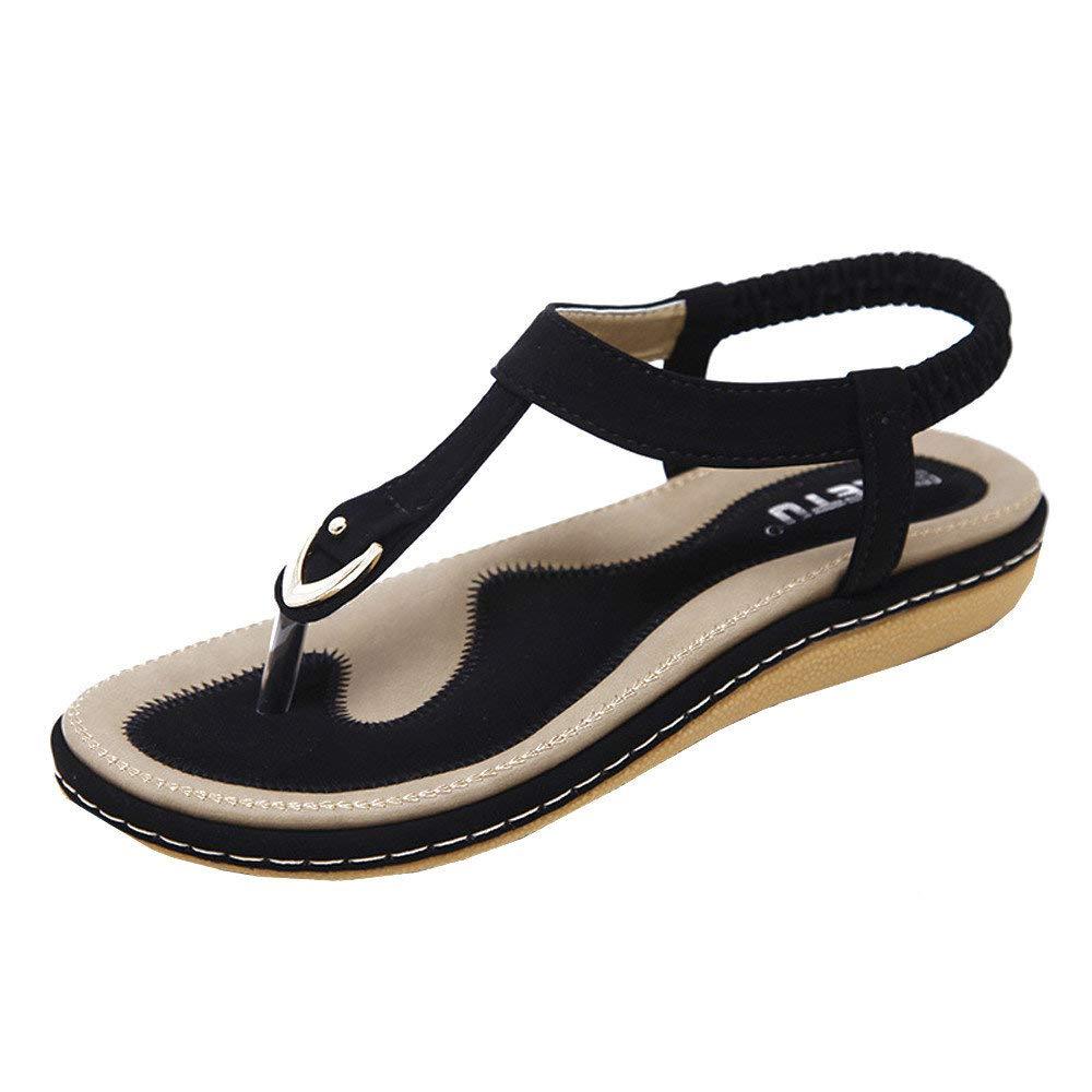 Bohemian Sandals,Boomboom Women Teens Flat Flip Flops Sandals Rivet Peep-Toe Beach Shoes (Black,US 7)