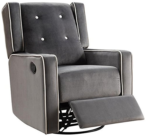 (Naomi Home Odelia Swivel Rocker Recliner Gray/Microfiber )