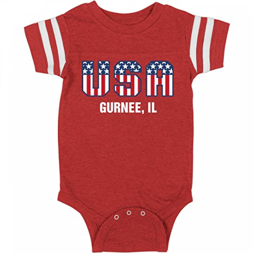 July 4th USA Baby Gurnee, IL: Infant Rabbit Skins Football Bodysuit (City Of Gurnee Il)