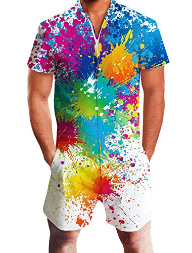 Leapparel Teens 3D Print Romper Graphic Colourful Tie-Dyed Jumpsuits Zip Up One Piece Short Sleeve Rompers Overalls 90s Clothing M