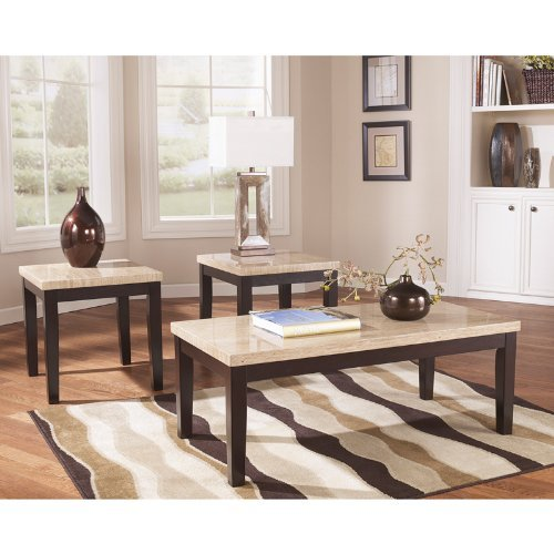 Ashley Furniture Signature Design - Wilder Two-Toned Occasional Table Set - Contains Cocktail Table & 2 End Tables - Contemporary - Espresso Brown